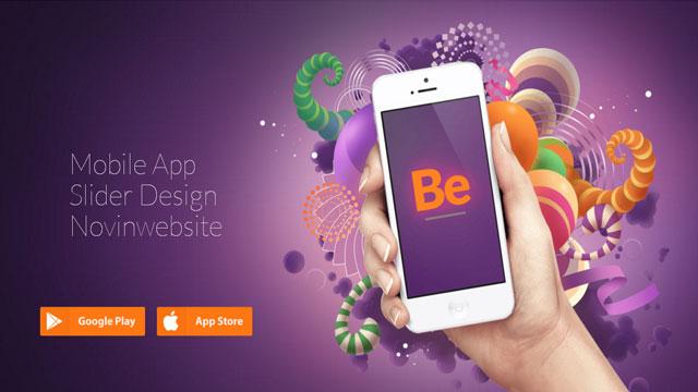 طراحی اسلایدر فروشگاه نرم افزار تلفن همراه